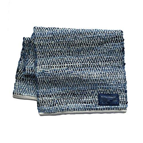 CHINDI MAT リサイクルデニム ロゼンジ ウィーブ 50×150cm ナチュラル
