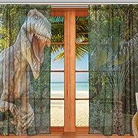 マキク(MAKIKU) レースカーテン 遮光 断熱 遮熱 ミラーレースカーテン 恐竜 森 木 北欧 ドアカーテン おしゃれ UVカット 薄手 目隠し 幅140cm×丈213cm 2枚組