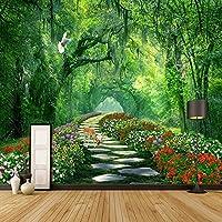Bzbhart テレビの背景装飾画、壁用ステッカー壁紙写真カスタム3Dフォト壁画モダン木公園グリーンロード3D風景写真リビングルームベッドルームの背景-400cmx280cm