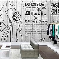 Xueshao 写真の壁紙3Dスタイリッシュなミニマリスト白黒落書き壁紙衣料品店美容室ラウンジ壁紙壁画-350X250Cm