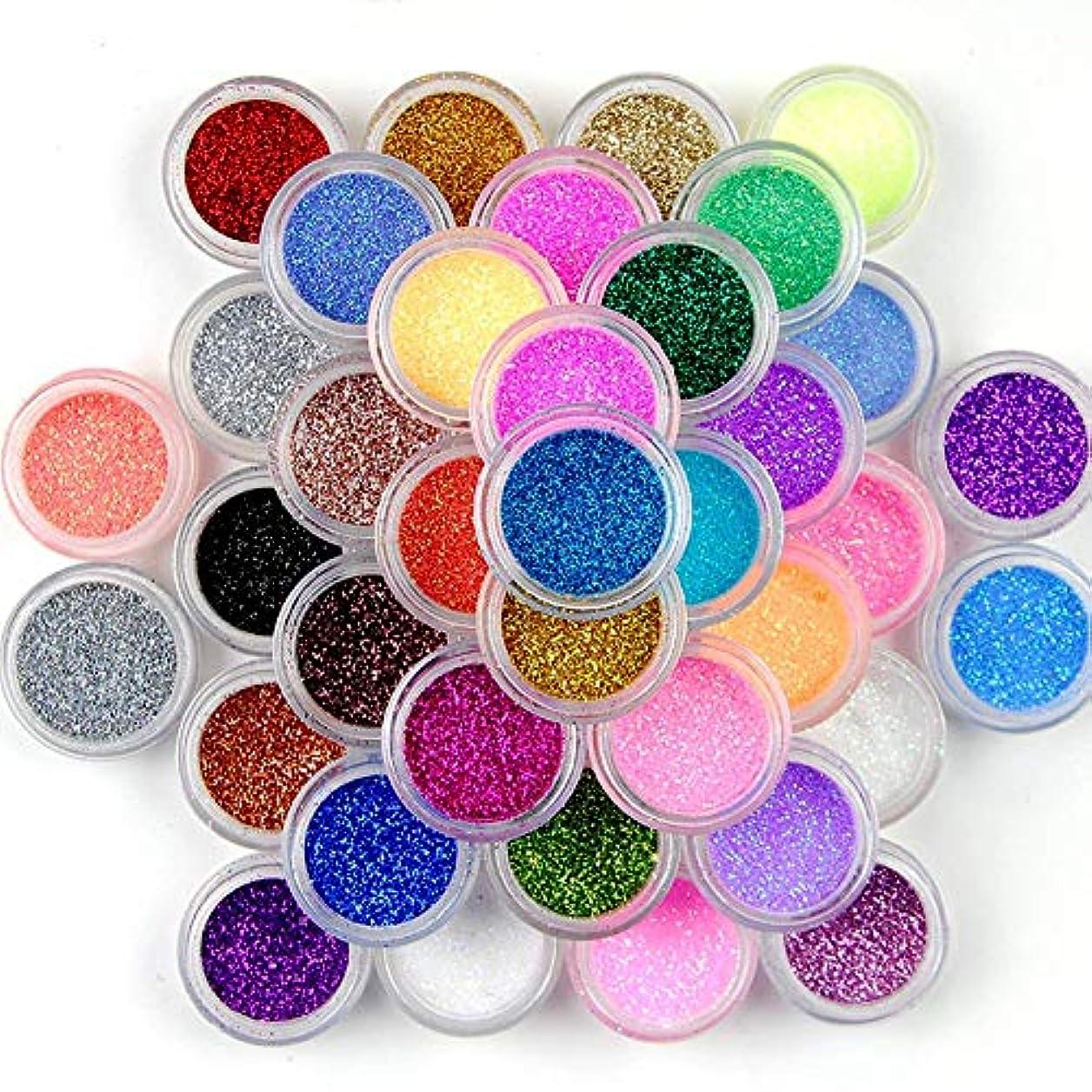 45色グリッターネイルスパンコールパウダー、ネイルアートパウダーデコレーションカラーグリッターネイルパレットネイルズ顔料DIYデコレーションキット