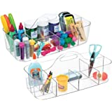 mDesign Plastic Portable Arts Crafting Sewing Desktop Caddy Storage Organizer Utility Tote Caddy Holder Handle - Pack of 2, C
