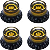 mxuteuk 4pcs Custom Bell Knobs Black w/Gold Custom Electric Guitar Bass Top Hat Knobs Speed Volume Tone AMP Effect Pedal Cont