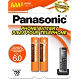 Panasonic Genuine AAA NiMH Rechargeable Batteries for DECT Cordless Phones, 2 Pack