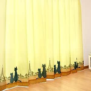 ネコ柄 ドレープ カーテン Dシャノワール 幅100cm×丈200cm 2枚組