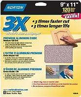 Norton 02619 3X Handy Aluminum-Oxide Sandpaper 120 Grit, 9-Inch x 11-Inch, 3-Pack by Norton Co.