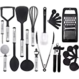 HomeHero 23 Nylon Cooking Utensils with Spatula Gadgets Cookware Best Kitchen Tool Set Gift, 1, Silver, Black