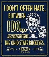 """ミシガンサッカーファン。I Prefer to Hate the Ohio State Buckeyes 12"""" x 14""""海軍メタルMan Caveサイン"""