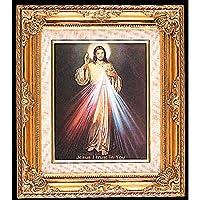 SF001 カトリック&宗教ギフト 額入りアートゴールド 神秘的なマーシー 英語版 13.25X15.5