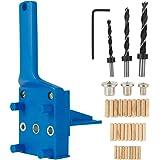 41Pcs Woodworking Doweling Jig Kit 6/8/10 mm Handheld Wood Dowel Drilling Guide, Drill Guide Metal Sleeve Wood Drilling Dowel