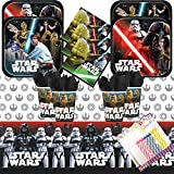 Classic Star Wars Plates Napkins Cups and Table Cover Serves 16 with Birthday Candles - Star Wars Party Supplies Pack Deluxe (Bundle for 16)