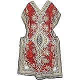 Mogul Interior Womens Kaftan African Dashiki Print Beach Cover Up Maxi Dress OS