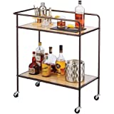 mDesign Portable Rolling Bar Cart Organizer Trolley with Easy-Glide Wheels and 2 Multipurpose Heavy-Duty Shelves - Wide Shelf