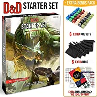 Dungeons Dragons Starter Set 5th Edition - DND Starter Kit - Dice in Black Bag - Fun DND Rolling Board Games Adults Adult Magic Board Game 5e Beginner Popular Pack Die Book [並行輸入品]