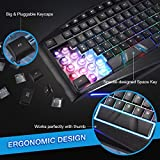 High Qualitying Keyboard, TopElek Rainbow Backlit Keyboard Wired with Wrist Rest, LED PC Gaming Keyboard, Compatible with Windows2000/ME/XP/7/8/10, Vista, Mac, Perfect for Gaming, Working