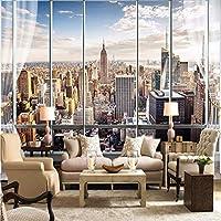 Xbwy 写真の壁紙カスタム3Dステレオ最新窓の外ニューヨーク市風景壁壁画オフィスリビングルームの装飾壁紙-400X280Cm