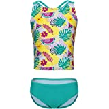 BELLOO Girls Two Piece Swimsuits Stripe Tankini Bathing Suits Sequin Pineapple Swimwear for 3-14 Years