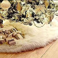 クリスマスツリースカート 飾り ツリースカート ホワイト ふわふわ オーナメント デコレーション サンタクロース 屋内飾り 円形 白い ふわふわ (ホワイト 90cm)