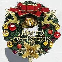 HIZLJJ クリスマスリースゴールドちょう結び、ベリー、ボールクリスマスオーナメントの花輪ドアクリスマスのドアの装飾シーンアレンジメント小道具をぶら下げ (Size : S)