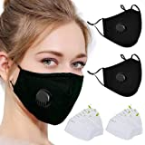 20Pcs Activated Carbon 5 Layers Filters, 2 Pack (Black) Unisex Breathable Valve Adjustable Reusable Washable Cotton Cover for