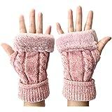 手袋 レディース メンズ ニット編み 指なし グローブ 防寒 秋冬 ふわふわ ファー スマホ手袋 おしゃれ 男女兼用