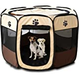 Horing Pop Up Tent Pet Playpen Carrier Dog Cat Puppies Portable Foldable Durable Paw Kennel Brown M