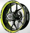 MOTOINKZ バイク用 17インチ フルカスタムリムステッカー GP2 蛍光イエロー B-85-FLYELLOW