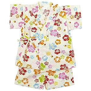 《盛夏 甚平》(ジンベイ) 日本製ベビー女児 リップル生地うさぎと花甚平スーツ 90cm/OW NO.OG-75575