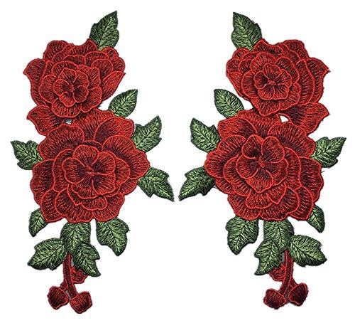 (ステキ ライフ)Suteki Life 手芸 立体刺繍 アップリケ バラの花のパッチ デザイン 高級感 ソーイング用 チキン刺繍パッチ  2枚入り 23 * 13cm