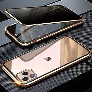 OURJOY iPhone11 Pro ケース 覗見防止 両面ガラス 対応 360°全面保護 iPhone 11 Pro アルミ バンパー ケース マグネット式 磁石 磁気接続 スマホケース 耐衝撃 アイフォン 11 Pro ケース クリア (iPhone 11 Pro ゴールド)