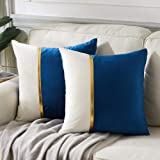 Fancy Homi 2 Packs Decorative Throw Pillow Covers 18x18 Inch for Living Room Couch Bed, Navy Blue and White Velvet Patchwork