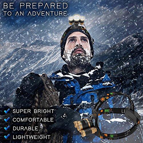 ヘッドランプ 超強力 釣り用 LEDヘッドライト充電式18650電池付 6000ルーメン照明度 4つ点灯モード 防水夜間海釣り/キャンプ/工事現場作業等アウトドア活動に適用
