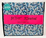 Betsey Johnson 4pc Queenシートセット–Meadow Floral Aqua