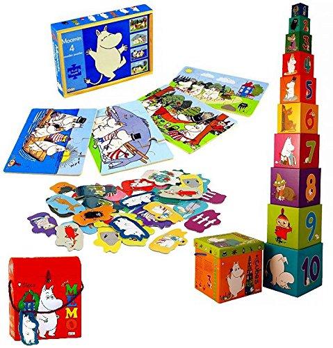 ムーミン  Barbo Toys社製 学習ゲーム 3点組 木箱入りウッドパズル(4種入)/絵合わせカード(神経衰弱)/11段積み重ね数字ボックス