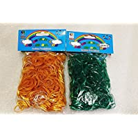 [Artasy ™][並行輸入品] DIY 金属色ゴムバンドブレスレット (ゴールド & グリーン) Loom Bands twins refill Pack - (600 + 600 pcs) rubber ring Color: Gold x Green