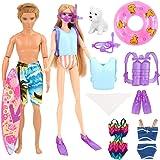 Barwa 3 PCS Swimsuits Bikini Clothes + 4 PCS Diving Equipment for Barbie Dolls + 1 PCS Jacketlife for Ken + Dog + Skateboard