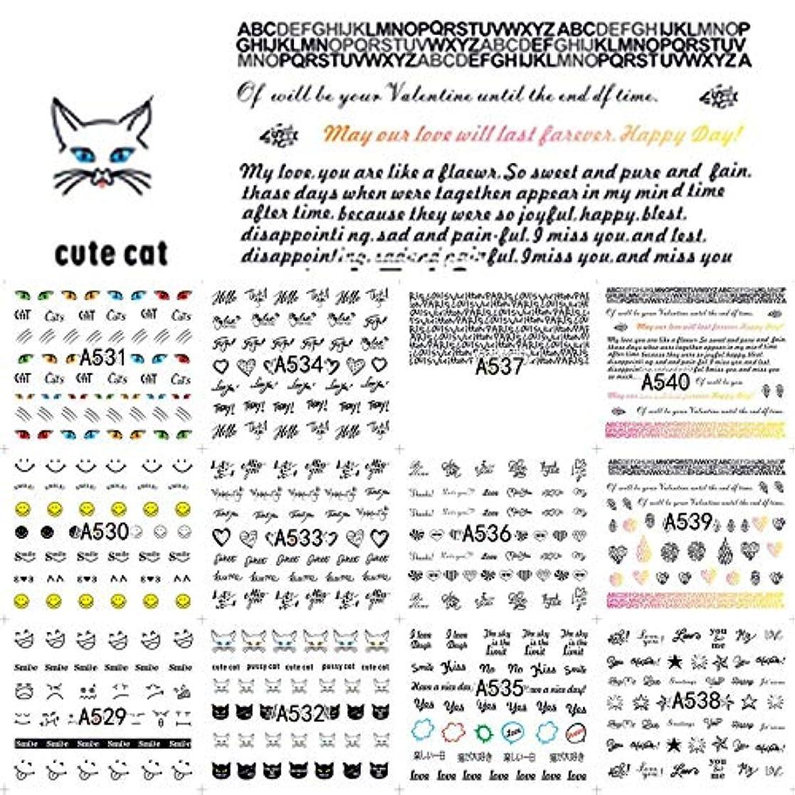AAcreatspace 48スタイル/セットトレンディレター動物女性ネイルステッカー夏水転写ネイルデコレーションUVジェルポリッシュDIYデカール
