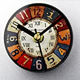 COOLSHOPY 冷蔵庫用マグネット レトロ マグネット掛け時計 ウォールステッカー 部屋装飾 模様替えに 簡単 セイコークロック プラスチック枠 クリエイティブ リベット番号 壁時計 ウォールクロック