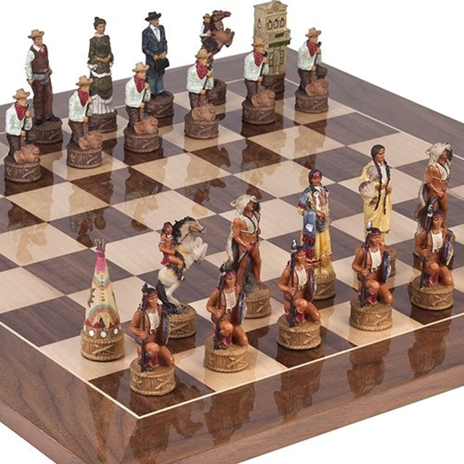American West Chessmen & Columbus Avenue Chess Board from Spain by