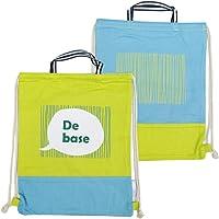 KUT(キッズアップテンポ)子ども 体操着入れ 大きめ 巾着袋 ナップザック (イエローロゴ, ナップザック)