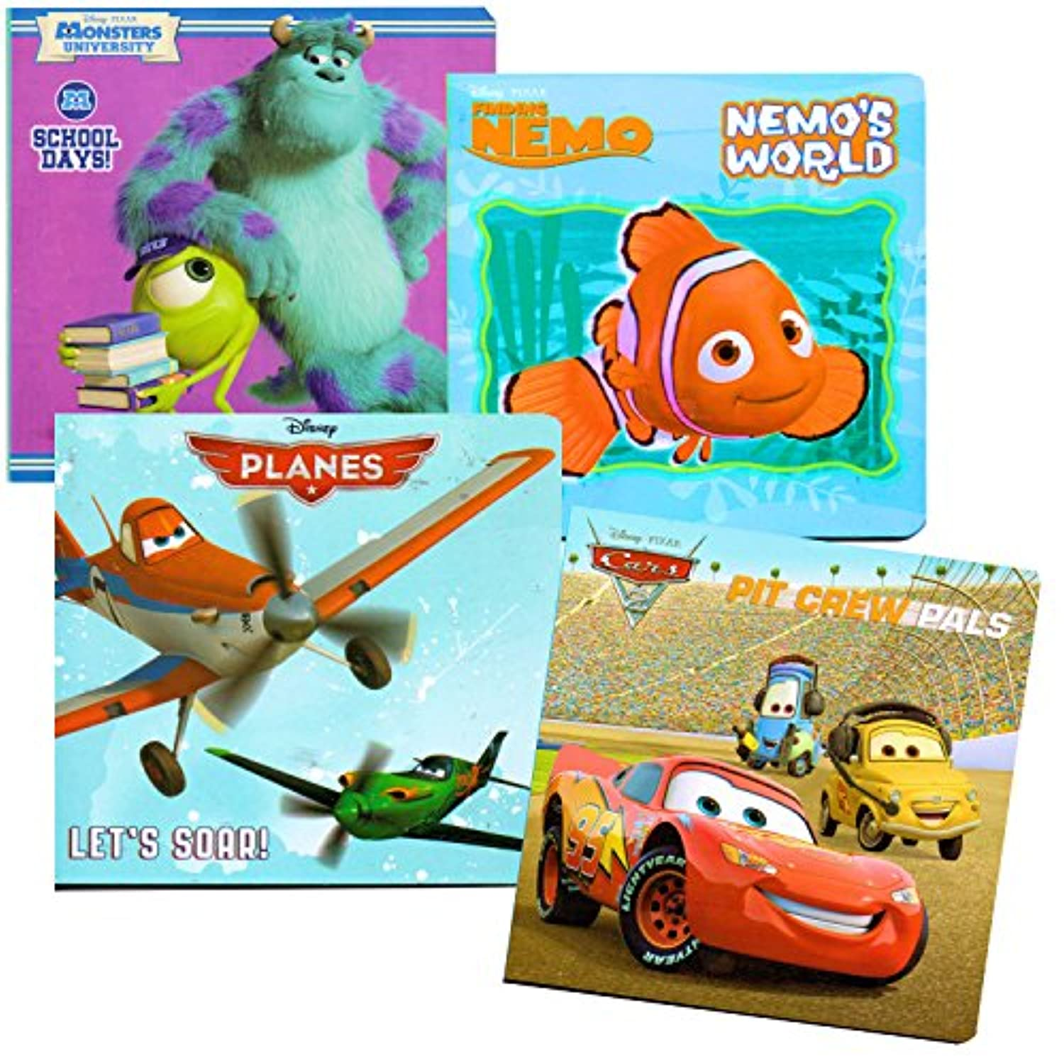 Disney? Favorites Board Books - Planes, Finding Nemo, Cars, Monsters University (Set of 4) by Disney