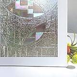 Rabbitgoo® 3D ガラスフィルム 窓用フィルム 浴室装飾フィルム 窓めかくしシート 断熱 紫外線カット 無接着剤 静電気の力で吸着 再利用可能 プライバシーガラスフィルム ウィドウフィルム アップグレード版 DIY (60 x 200cm)