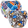 Teamoy 水遊びパンツ 2点セット 0-3歳 赤ちゃん用 ボタンでサイズ調整可能 防水外層 ポリエステルメッシュ内層 オムツカバー スイミング教室・公園・海水浴・温泉旅行