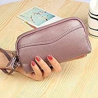 財布 女性のハンドバッグ財布のハンドバッグダブルジッパー女性 レジャー財布 ( Color : 紫の )