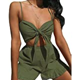 Women Fashion Two Pieces Summer Outfits Bow Tie Bra Crop Top Short Pants Set
