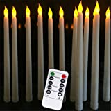 Datomarry Pack of 12 Remote Flameless LED Taper Candles with Yellow Flickering Light,Realistic Plastic 11 inch Long Ivory Whi
