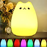 CHWARES Portable LED Children Night Light Kids Multicolor Silicone Cat Lamp, Warm White &7-Color Breathing Dual Light Modes,