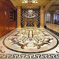 Lixiaoer 防水壁3Dの贅沢なヨーロッパ式の居間の床の壁画壁紙のための注文の写真床の壁紙-400X280Cm