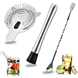 SENHAI Stainless Steel Cocktail Muddler, Spiral Mixing Spoon & 4-Prong Bar Strainer, Home Bar Bartender's Muddling Tool Set