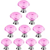 Dxhycc 10pcs 30mm Flat Round Crystal Glass Cabinet Knobs Cupboard Drawer Pull Handles Pink
